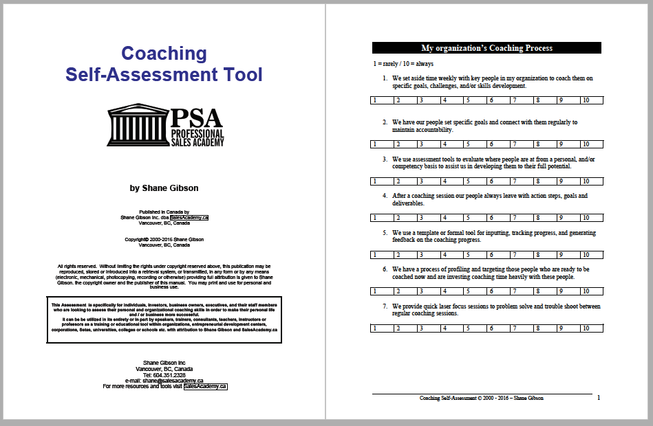 Free Coaching Skills Assessment Tool in PDF format